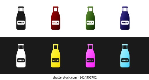 Set Closed glass bottle with milk and cap icon isolated on black and white background. Vector Illustration