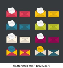 Set of closed and open envelopes. Paper document enclosed in an envelope. Flat vector icons.