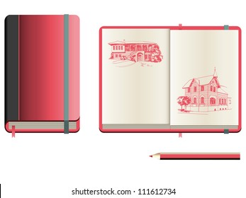 Set of closed and opened sketchbook with red cover and pencil sketches of small houses
