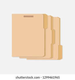 Set of closed variously tabbed file folders with interior fastener to keep paper documents, letter size. Vector mockup.