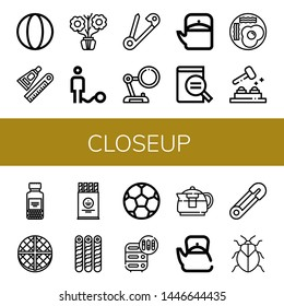 Set of closeup icons such as Ball, Glue, Aromatic, Safety pin, Magnifying glass, Teapot, Fried eggs, Whack a mole, Spices, Wafer, Soccer ball, Adjustment, Stink bug , closeup