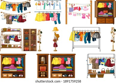 Set of clothes, accessories and wardrobe isolated on white background illustration