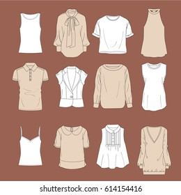 Set of clothes Blouses icons. Female cloth collection, vector illustration.