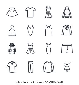Set of clothes icon template color editable. Fashion pack symbol vector sign isolated on white background. Simple logo vector illustration for graphic and web design.