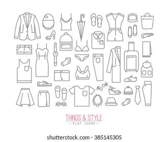 Set of clothes icons in flat style drawing with grey lines on white background
