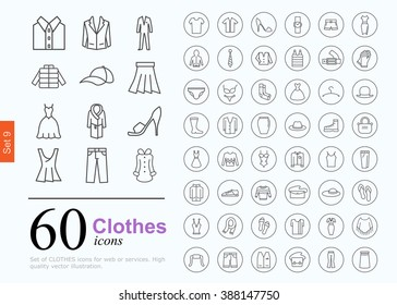 Set of clothes icons for web or services. 60 design line icons high quality, vector illustration.