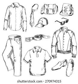 Set of clothes for men. Pen sketch converted to vectors.