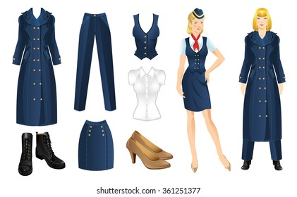Set of clothes in military style. Blonde girl in uniform.