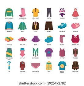 Set of clothes thin line and pixel perfect icons for any web and app project.