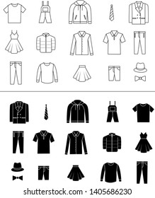 Set of clothes vector icons.