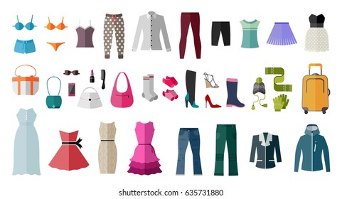 Set of women's clothing and accessories. Fashion and style elements. Flat design vector illustration.
