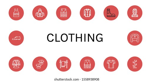 Set of clothing icons. Such as Sleeveless shirt, Apron, Vest, Coat, Sneakers, Boxer, Bathrobe, Shirts, Clothes line, Life jacket, Sport shirt, Coat stand, Shoes , clothing icons