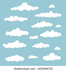 Set of Cloud in cartoon style on blue background. White vector clouds isolate. Vector illustration