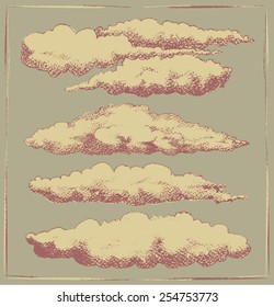 Set of cloud engravings. Vintage design sketch of clouds