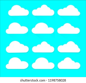 Set of cloud icons flat style with shadow  isolated on blue background, vector illustration