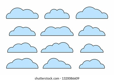 Set of cloud. isolated on white background