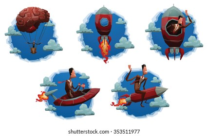 Set of cloud labels with cartoon business men who starting a start up. Someone do it on a rocket. Someone flying on a spaceship. Someone go up on a brain balloon. vector illustrations