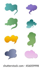 A set of cloud stickers ,design,colorful.