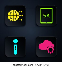 Set Cloud technology data transfer and storage, Global technology or social network, Gamepad and Tablet with text 5k. Black square button. Vector