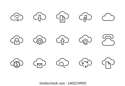 Set of cloud vector line Free icon. It contains symbols to upload, download, link and more. Editable Stroke. 32x32 pixels.