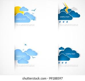 Set of clouds with different weather. Vector