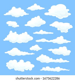 Set of clouds in a flat design on a blue background