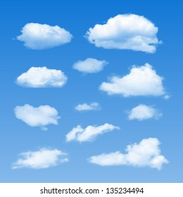 Set of Clouds on  blue sky. Vector illustration