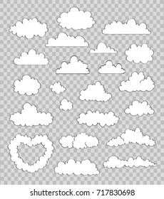 set of clouds on transparent background. vector drawing