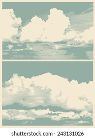 set of clouds, retro engraving style. vector illustration