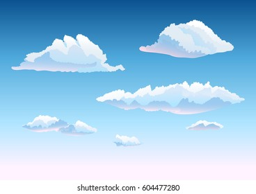 set of clouds in the sky. cartoon hand drawn vector illustration