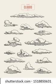 Set of clouds, vector illustration, hand drawn, sketch