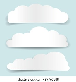 Set of cloud-shaped paper banners. Vector illustration