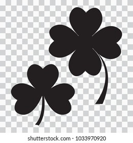 Set of clover icon, three and four leaves. Black silhouette on  transparent background. Vector illustration