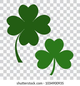 Set of clover icon, three and four leaves. Green on  transparent background. Vector illustration