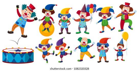 A Set of Clown on White Background illustration