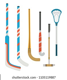 Set of clubs for different hockey, lacross and polo, detailed with a shadow in a flat style