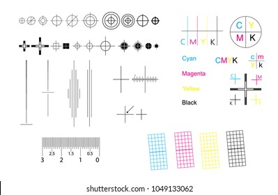 Set of CMYK offset vector registration marks cross polygraphy for print and prepress.