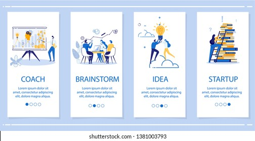 Set Coach, Brainstorm, Idea, Startup Flat Banner. Man Conducts Seminar using Visual Schedule. Group People Working together Table. Man and Woman are Drawn to Torment. Woman Climbs Stairs.