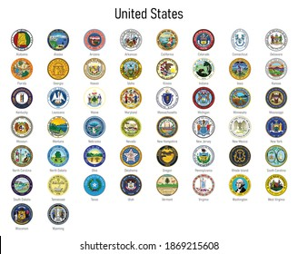 Set Coat of arms of the states of United States, All USA regions emblem collection