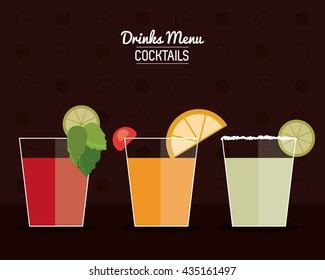 set of Cocktail drink icons with citrus fruits in flat design style, Alcohol Beverage. Vector illustration