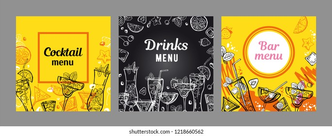 Set of cocktail menu cover design templates. Vector outline hand drawn illustration with different cocktails and fruits with yellow and blackboard background