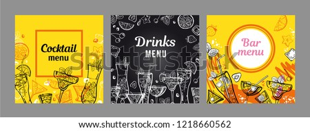 set cocktail menu cover design templates stock vector royalty free