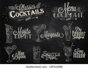 Set of cocktail menu with glasses mojito, margarita, blue lagoon, long island, scotch and pepper in vintage style drawing with chalk on blackboard.