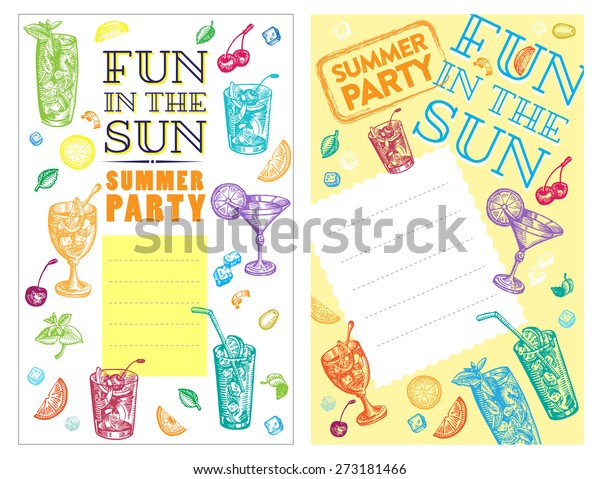 Set Cocktail Party Invitation Cards Vector Stock Vector