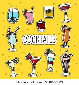 Set of cocktail patches, cute colorful badges, fun cartoon icons design vector