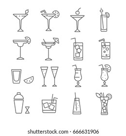 Set of cocktail Related Vector Line Icons. Contains such icon as  smoothie, milkshake, mixed drink, shake, bar, alcohol, Mojito, whiskey, rum, blue lagoon, vermouth