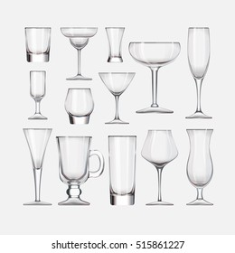 Set of cocktail stemware and glasses for alcohol