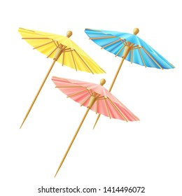 Set of cocktail umbrellas, for decor, blue, yellow, pink.