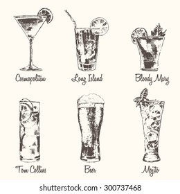 Set of cocktails. Cosmopolitan, Tom Collins, Bloody Mary, Long Island, Beer, Mojito. Vintage engraved vector illustration, hand drawn.