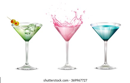 Set cocktails on a white background. Cosmopolitan Martini with ice and olives, Blue Lagoon. Glass goblet. Vector.